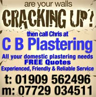 C B Plastering for all your domestic plastering needs - call Chris on 01909 562496 or mobile 07729 034511