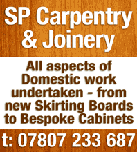 S P Domestic Carpentry & Joinery Services. Call Steve on 07807 233 687