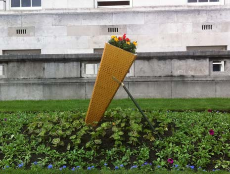 The Olympic Torch Garden display outside the Town Hall