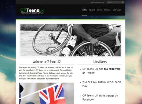 The CPTeens website, which launched this month, includes a forum area and a blog which Ellie hopes to fill with updates from others who share her condition.