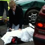 Students watch a staged accident at Chesterfield College to show the impact such an accident can have on peoples lives