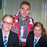 Notts County goalkeeper Bartosz Bialkowski took time out from training to extol the joys of his home country's culture when he took part in Shirebrook school's language week.